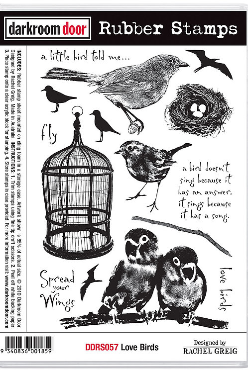 "Darkroom Door - ""Love Birds"" Cling Rubber Stamp"