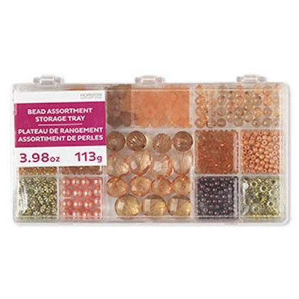 Orange & Brown Bead Mix Assortment Tray 4.16 Ounce Pkg