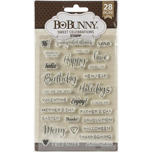 """BoBunny Clear Stamps 4""""X6"""" """"Sweet Celebrations"""""""