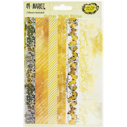 "49 Market Butter Washi Strips Tape 2 5x7"" sheets"