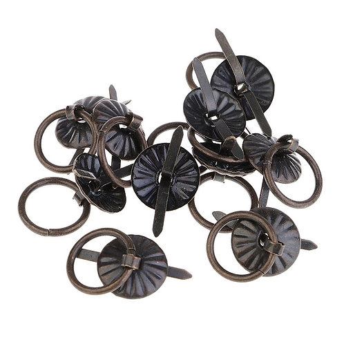 16mm Antique Bronze Journal Ring Pull Brads 10pcs