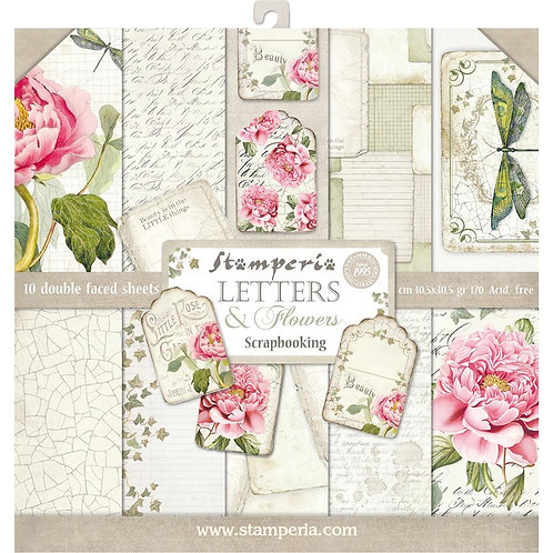 """Stamperia 12"""" x12"""" Paper pack """"Letters & Flowers"""""""