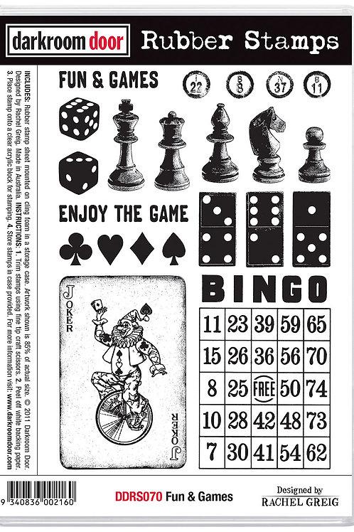 """Darkroom Door - """"Fun & Games""""  Cling Rubber Stamp"""