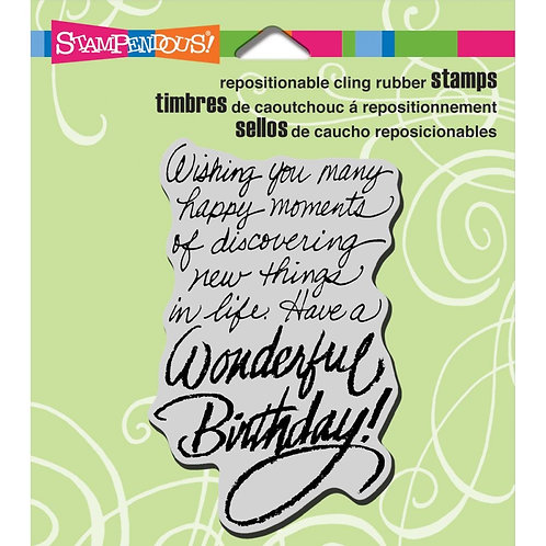"""Birthday Wish""  Stampendous Cling Mount Rubber Stamps"