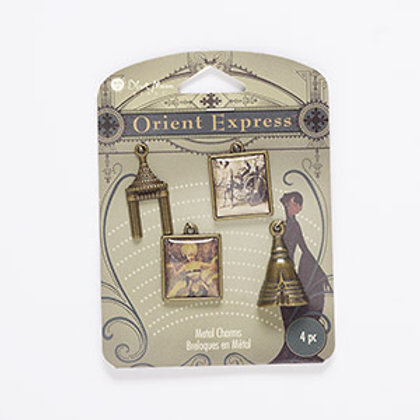 Antique Brass & Resin Charms 4 pcs
