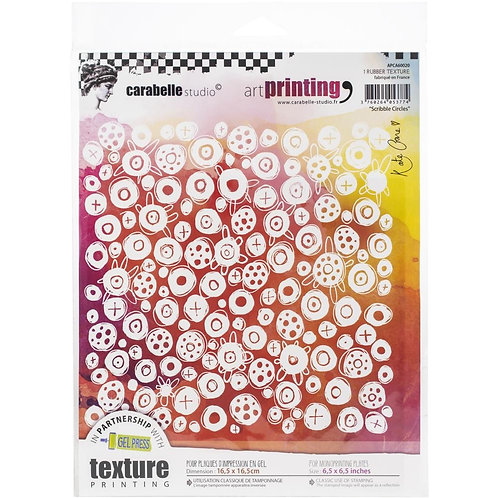 "Carabelle Studio Art Printing Rubber Texture Plate ""Scribble Circles"""