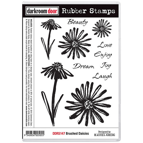 Brushed Flowers -Darkroom Door Cling Rubber Stamp