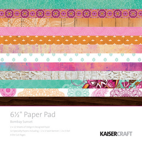 "Kaisercraft  6.5""x 6.5"" Paper Pad 24 pages ""Bombay Sunset """