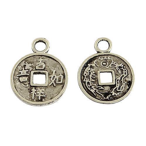 Tibetan Silver Alloy Coin Charms Pendants 17x13x1mm 20pcs