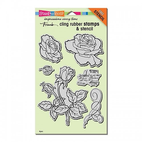 """""""Rose Garden""""  Stampendous Cling Mount Rubber Stamps with Bonus Stencil"""