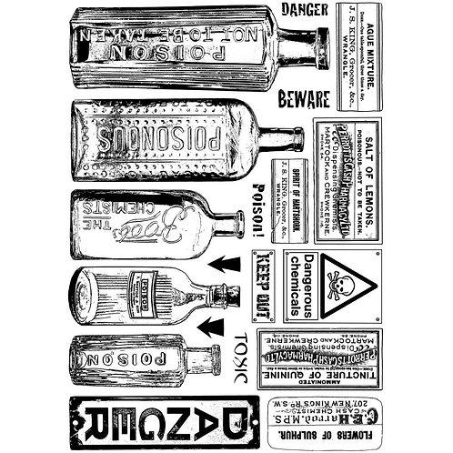 "Crafty Individuals Unmounted Rubber Stamp 4.75""X7"" ""Vintage Bottles"""
