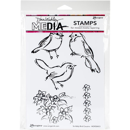 """Dina Wakley Mixed Media Cling Rubber Stamps """"Scribbly Bird Cousins"""""""