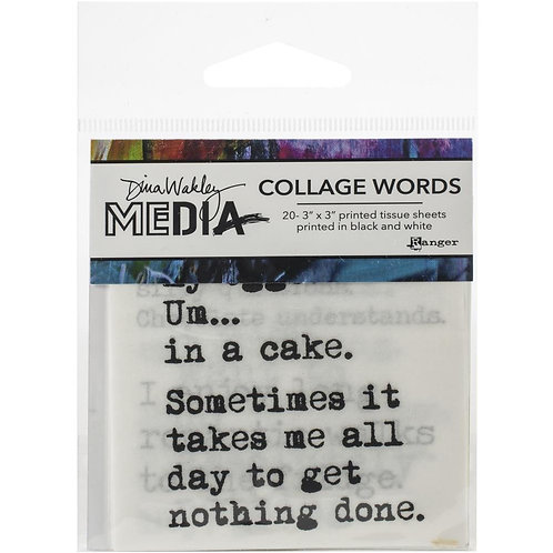 """Dina Wakley Mixed Media Collage Words Tissue Paper 20 - 3""""x 3""""Sheets"""