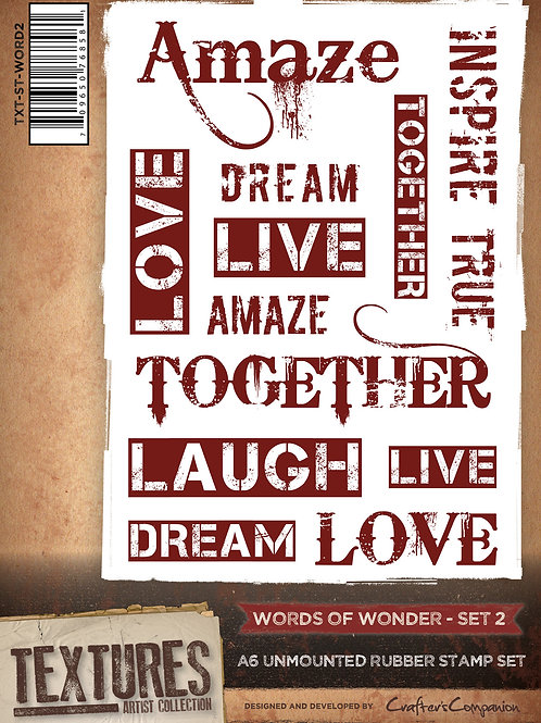 """""""Words of Wonder 2"""" Crafters Companion Unmounted Rubber Stamps"""