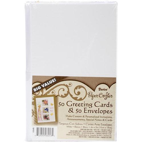 "Darice Heavyweight A2 White Cards/Envelopes (4.25""X6.25"") 50/Pkg"