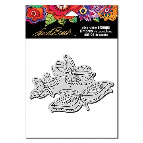 Flutterbye Trio Stampendous Cling Mount Rubber Stamps