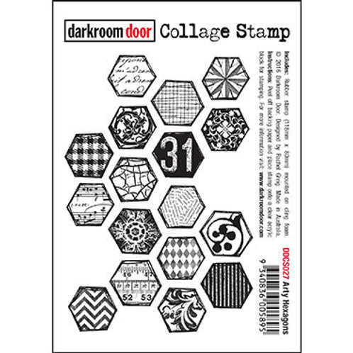 "Darkroom Door - ""Arty Hexagons"" Collage Rubber Stamp"