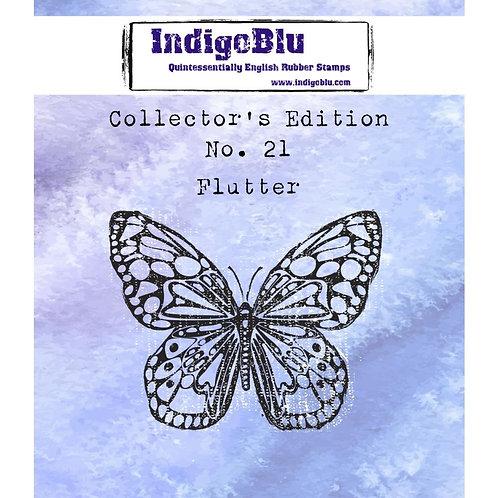 "Indigo Blue ""Flutter"" 2"" x 2"" Rubber Stamp"