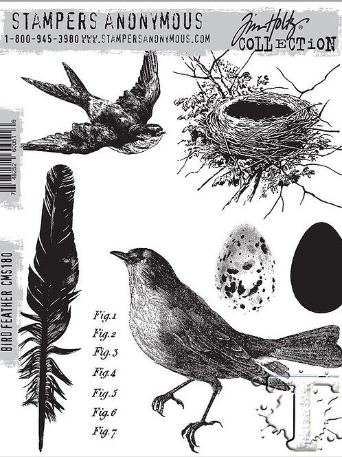 """""""Bird Feathers"""" Tim Holtz Cling Stamps 7""""X8.5"""" by Stampers Anonymous"""