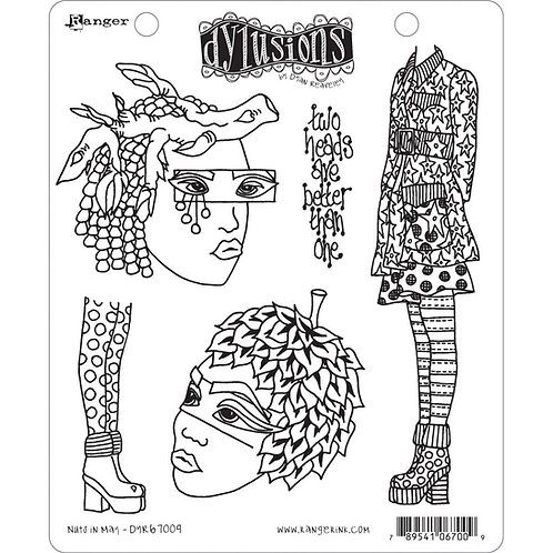 """Dyan Reaveley's Dylusions Cling Stamp  8.5""""X7""""""""Nuts in May"""""""