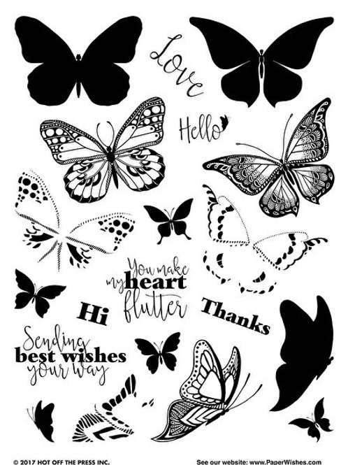 Layering Butterflies clear Polymer 2 step Stamp Set