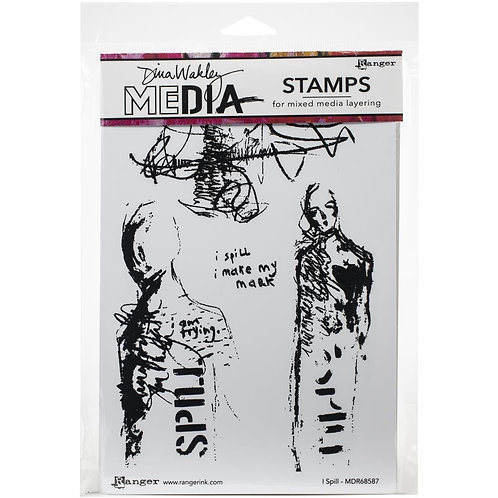 "b Dina Wakley Mixed Media Cling Rubber Stamps ""I Spill"""