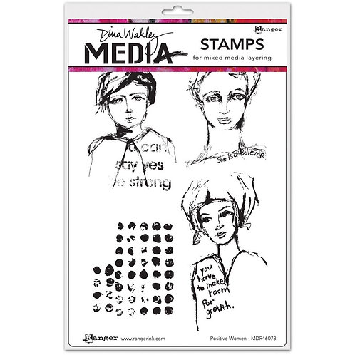 """Dina Wakley Mixed Media Cling Rubber Stamps """"Positive Women"""""""