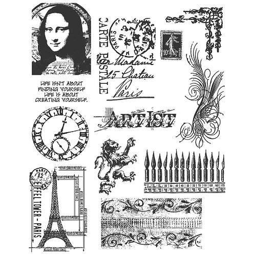 """""""Mini Classics"""" Tim Holtz Cling Stamps 7""""X8.5"""" by Stampers Anonymous"""