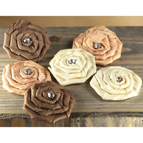 Prima Marketing Allure Fabric Flowers W/Gems 6/Pkg