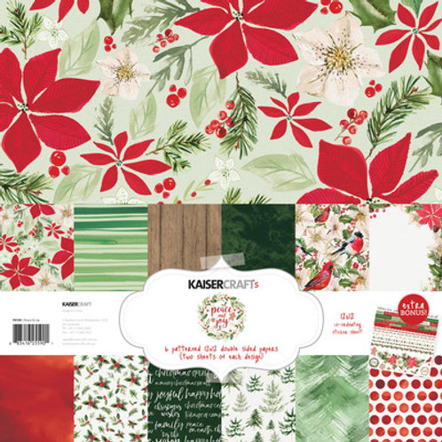 "Kaisercraft Christmas 12x12 Paper Pack with Bonus Sticker Sheet ""Peace & Joy"""