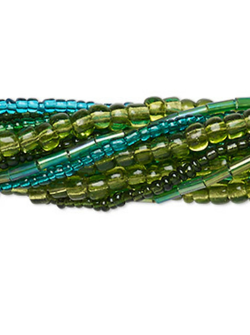 Seed Bead mix, glass, mixed colours 10 X 14' strands