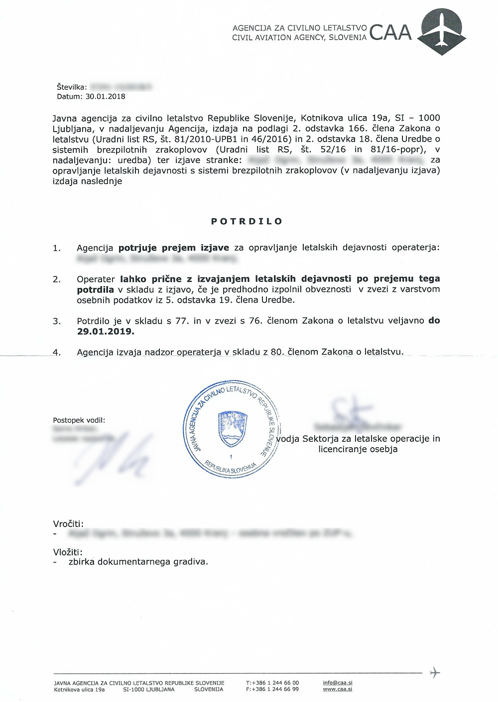 Slovenian Registration Confirmation Letter