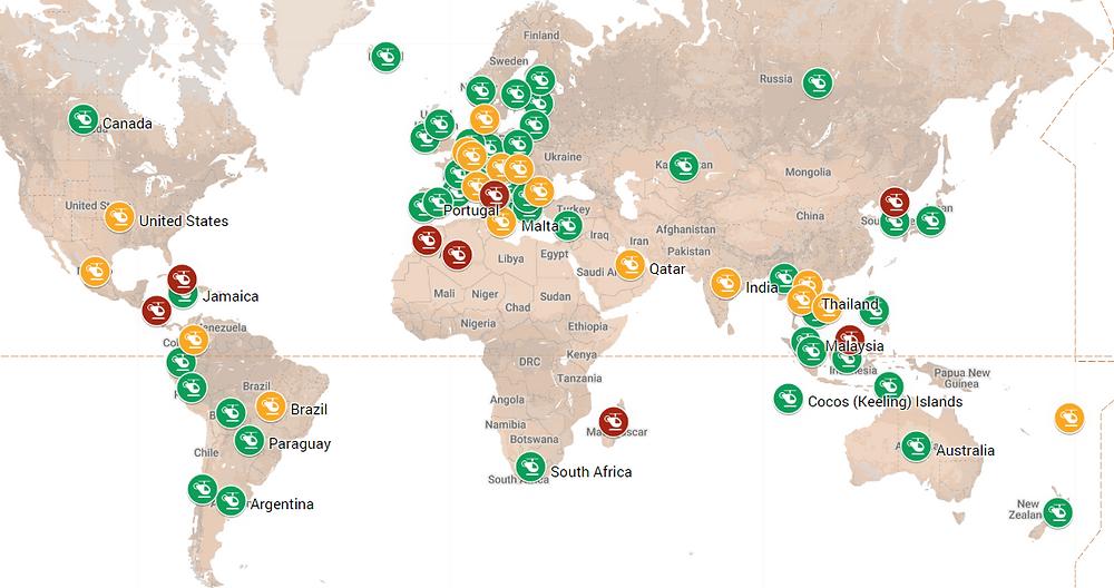 Drone laws worldwide map