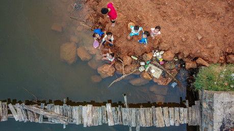 Aerial photo of a group of children playing