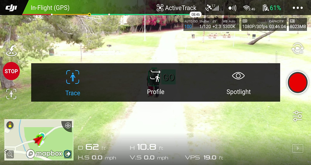 DJI Active Track Flight Mode Options