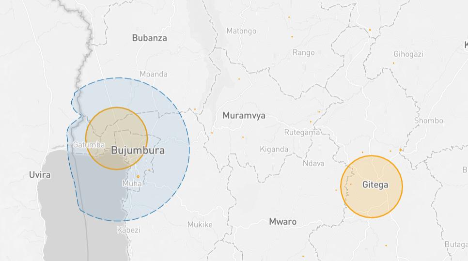 Burundi Drone fly map