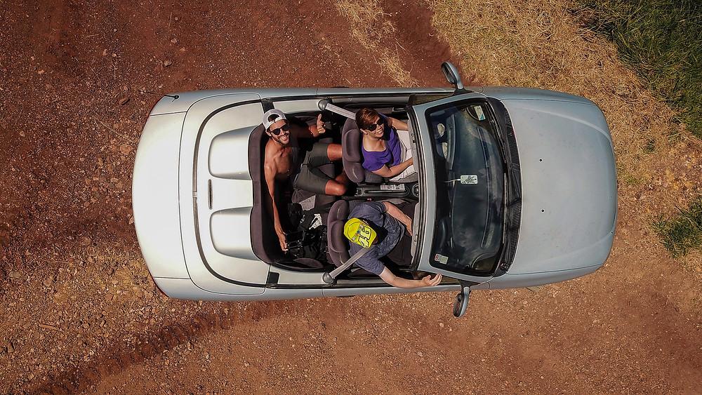 Car aerial photo