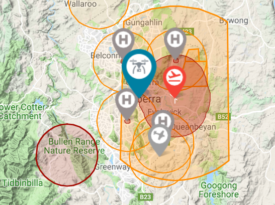 Drone Fly Map Canberra