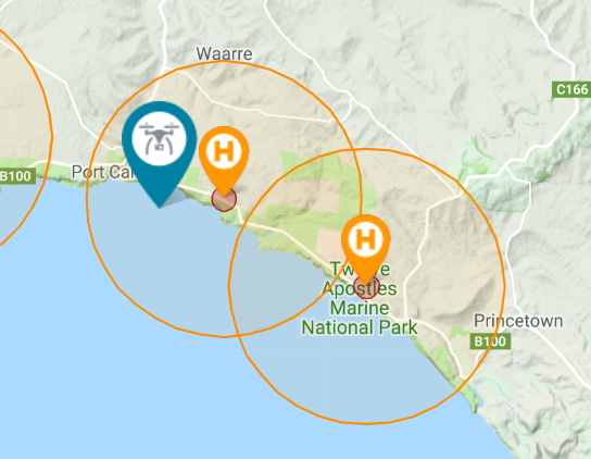 Drone fly map of twelve Apostles