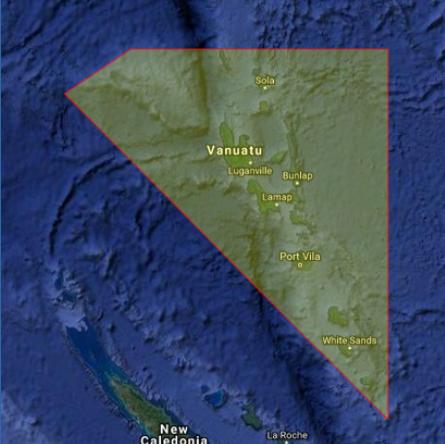 Drone fly map Vanuatu
