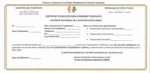 e.g. of a Cote d'Ivoire Pilot's License