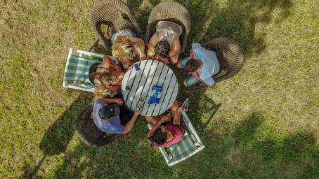 Aerial photo of a group of friends enjoying mate drink!.