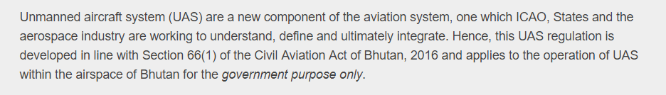 Official Bhutan drone ban text