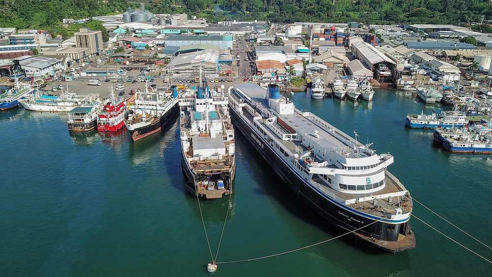 Arial Picture of the Lomaiviti Princess (ferry from Suva to Taveuni)