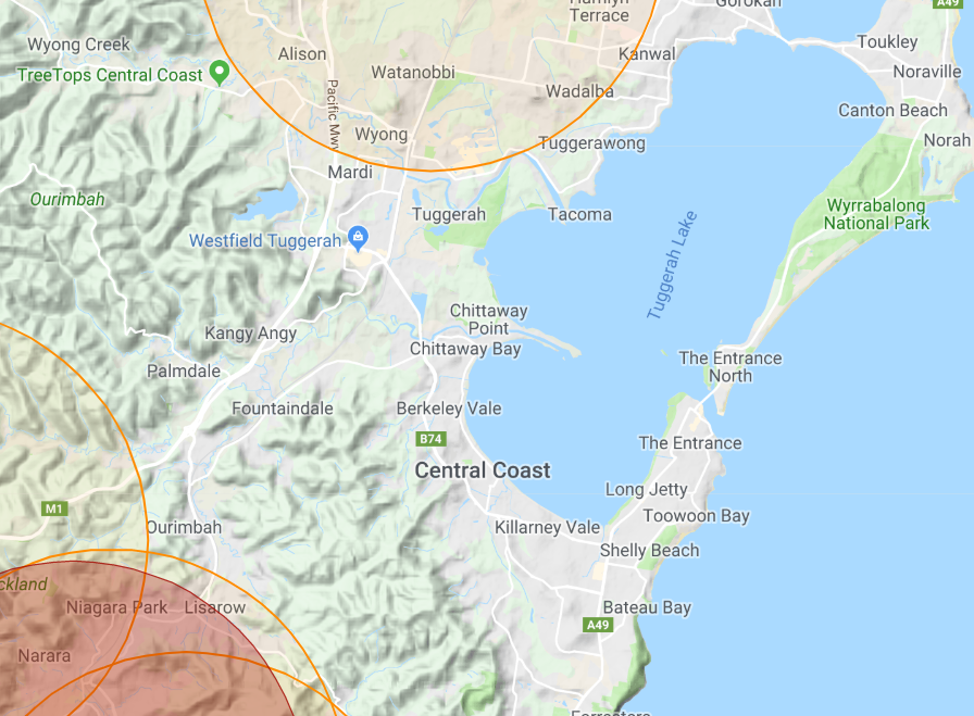 Drone fly map Central Coast