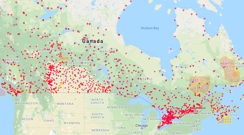 Canada drone fly map