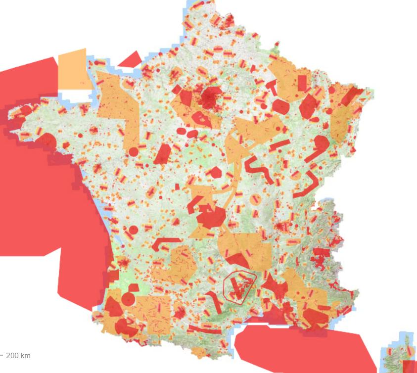France drone flight map