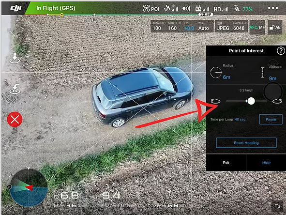 DJI Point of Interest Speed Adjustment