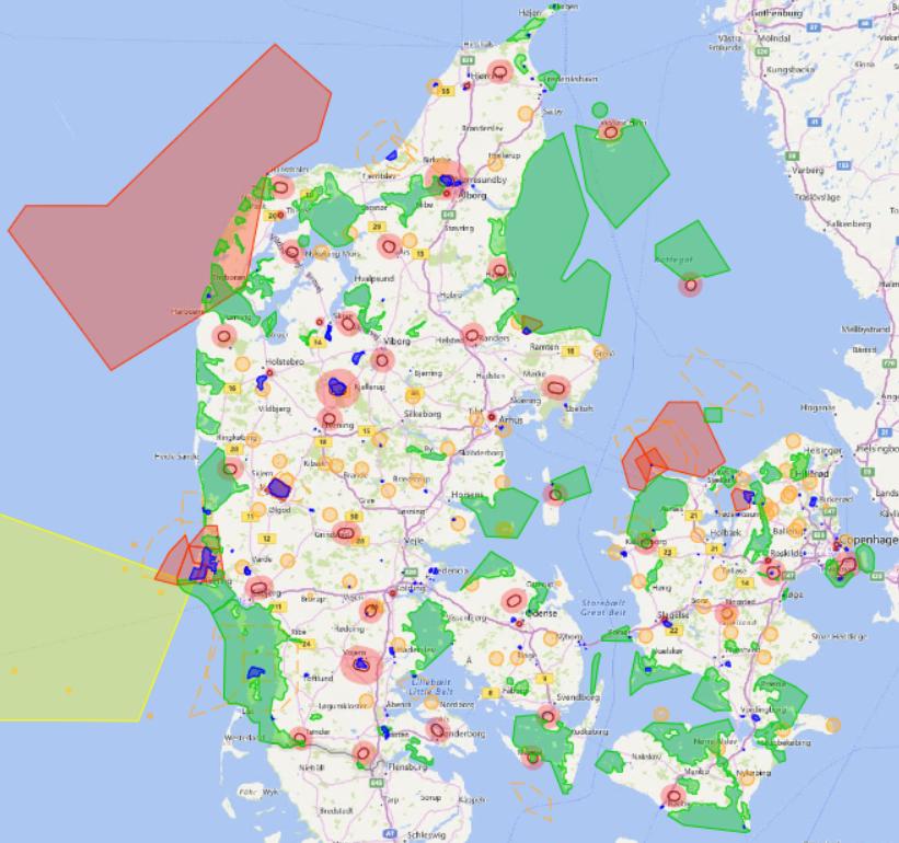 Carte de vol pour drone au Danemark