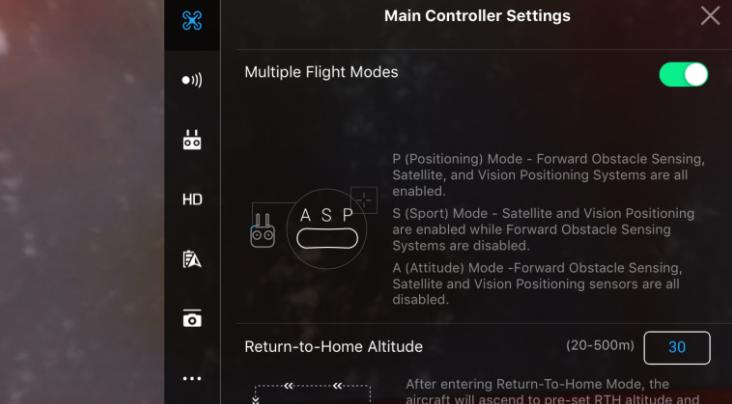 DJI P Mode Main Controller Settings